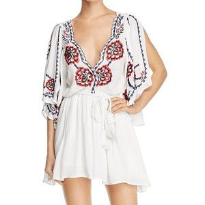 Free People Cora White Embroidered Dress L NWT